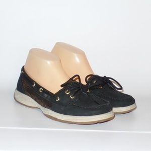 Sperry Black Rose Gold Leather Deck Shoes 9M